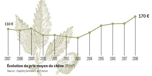 Évolution du prix moyen du chêne I Agrifrance I BNP Paribas Wealth Management